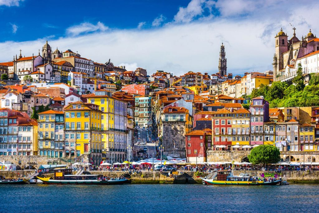 Porto, old town skyline from across the Douro River