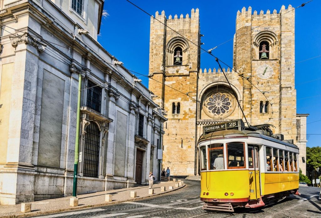 Lisboa Typical tram and Cathedral