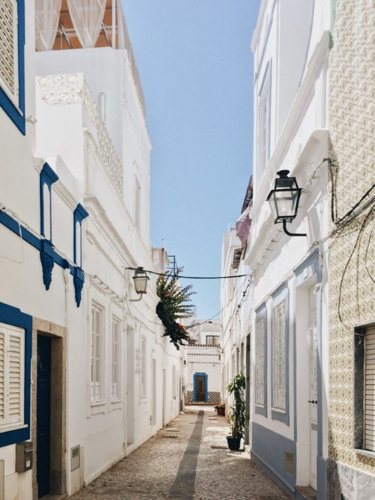 A street in Olhao, with its geometric cubist buildings inspired by Moroccan architecture.