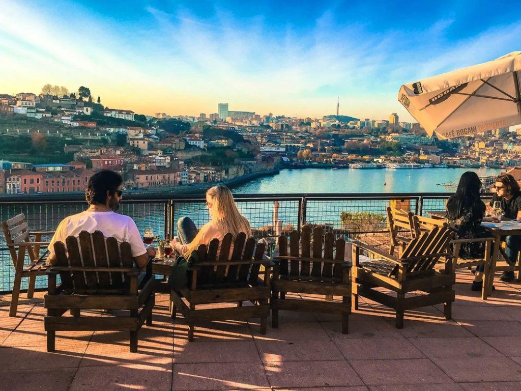 Ribeira cafes in Porto river Douro estuary