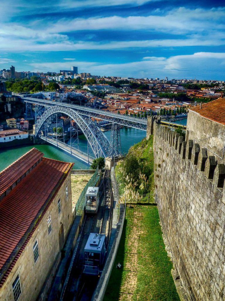 Walls and view to bridge in Porto