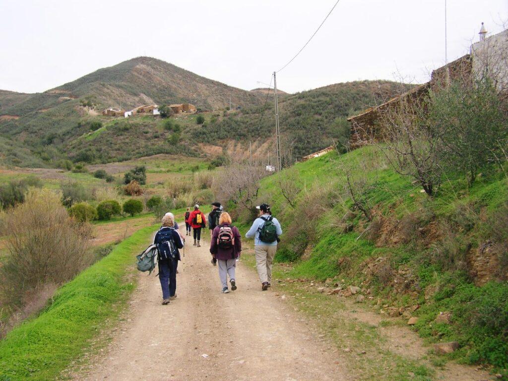 Group walking East algarve countryside