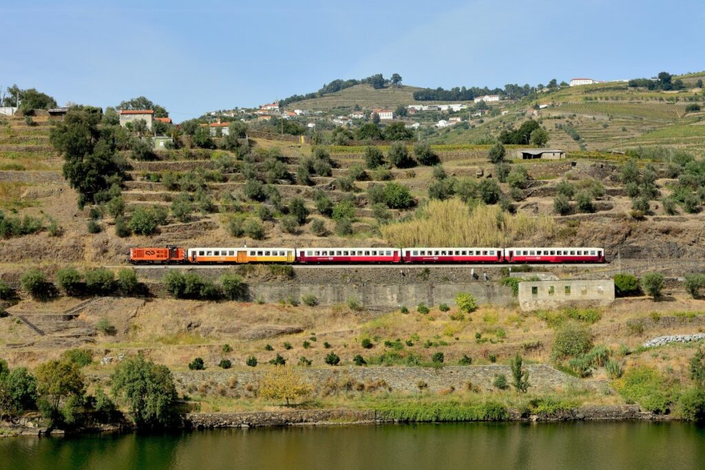 Douro river valley being traversed by a train