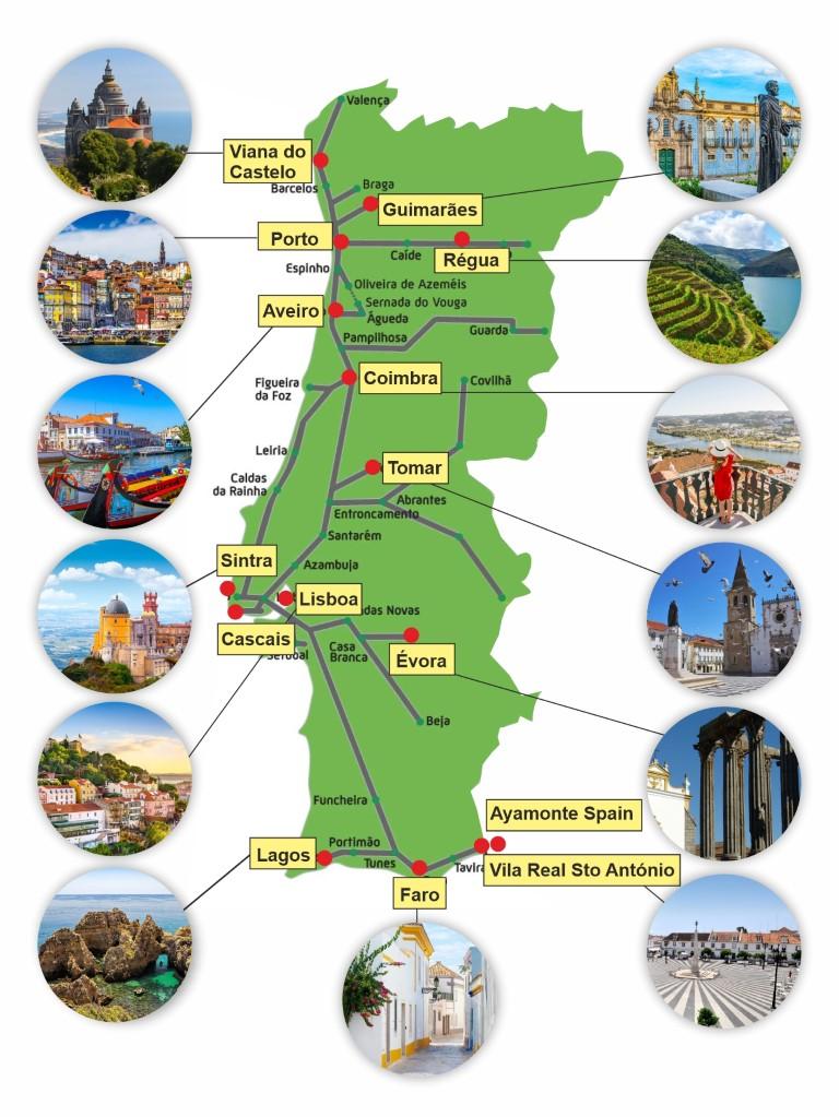 Map Rail Holidays Portugal