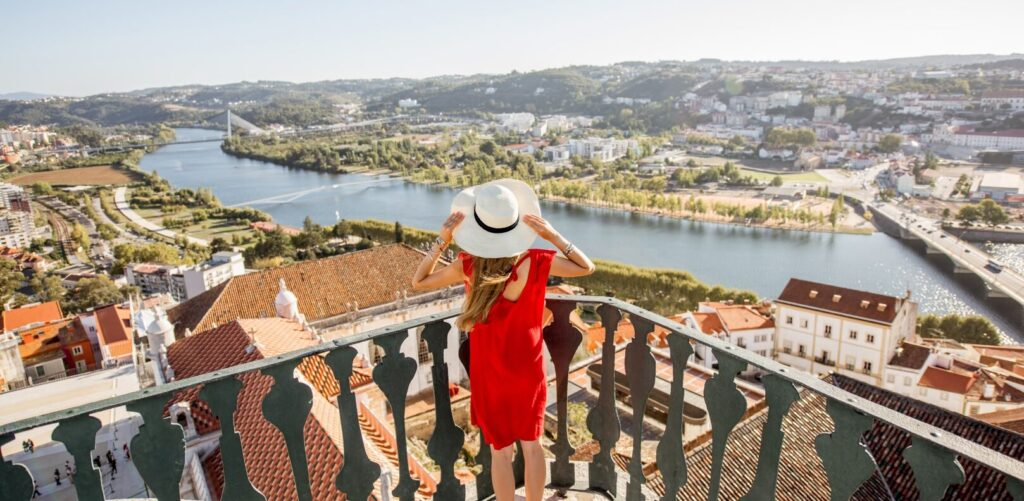 Woman traveling in Coimbra city, Portugal